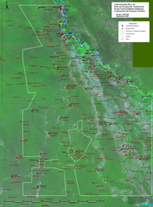 The basis for negotiations in 55-14 was this map showing the overlap between areas used by criollos and Indigenous Peoples. Map courtesy of FUNDAPAZ.