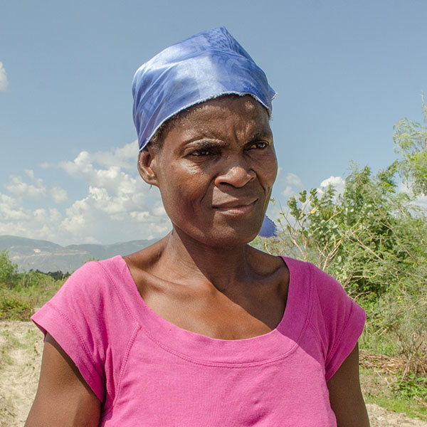 Marie Snoute, 57 and the single mother of 7 children, farms with seed and technical support provided by an agronomist  working with SSID's program in Ganthier, Croix-des-Bouquets Arrondissement, in the Ouest Department of Haiti.
